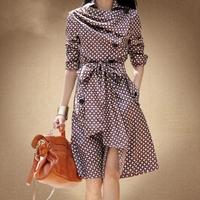 new 2014 Korean spring autumn fashion houndstooth print female lapel slim trench coat medium-long windbreaker women S-XXXL D2513