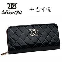 Women's wallet female long design multi card holder pink green blue genuine leather gift box