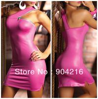 Fashion Sexy Lingerie PVC Dress Costume Outfit  Shining Elastic Sleepwear Underwear Uniform Teddy Pink/Black Free Shipping#LT82