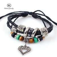 2014 New Vintage Silver Plated Beads Weaving Genuine Leather Bracelet Fashion Jewelry Handmade Unisex Classic LOVE Bracelets