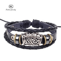 2014 New Fashion  Vintage Jewelry Wrap Charm Genuine Leather Bracelet with Braided rope Unisex for Men & Women Classic Bracelets