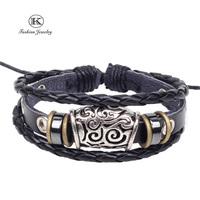 2014 New Fashion  Vintage Jewelry Wrap Charm Genuine Leather Bracelet with Braided rope Unisex for Men & Women Classic Bracelets