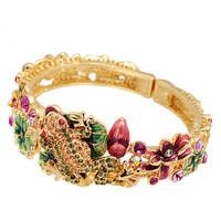 Cloisonne Bracelet Luxury Hight Quality Gold Plated Enamel Handpainted Bracelet Vintage Frog On Louts Oriental Art Handcraft