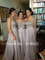 High quality a line applique cap sleeve chiffon floor length long bridesmaid dresses brides maid dresses free shipping