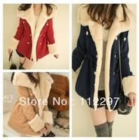 Free Shipping 2013 winter warm coats women wool slim double breasted wool coat winter jacket women fur women's coat jackets