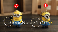 Wholesale Keychains 20sets/lot 2pcs/set Despicable Me Minions PVC cartoon keychains