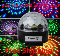 wholesale Free Shipping New Digital RGB LED Crystal Magic Ball Effect Light DMX Stage Lighting+Remote Control