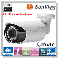 SunView  HiSilicon real time bullet cctv IP camera 720P HD waterproof 2.8~12 varifocal lens ip camera, surveillance security