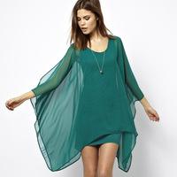 Elegant jade green chiffon cloak type double layer elastic knitted lining one-piece dress haoduoyi