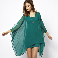 Elegant jade green chiffon cloak type double layer elastic knitted lining one-piece dress haoduoyi