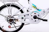 "20"" Folding Bicycle 6 Speed Light Weight Foldable Bike White"