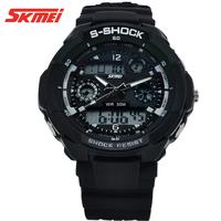 Free ship 2times zone backlight quartz Chronograph jelly silicone swim dive watch,s-shock mens military watch sport watch