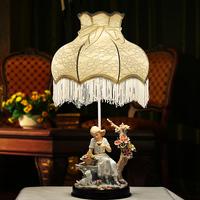 Fashion ceramic rustic table lamp bedside table lamp fashion lace table lamp