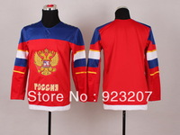Wholesale 2014 Cheap Winter Olympic Game Team Russia Youth Blank Red Ice Hockey Sport Jersey.Stitched Name Logo