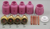 TIG Consumables KIT Large Diameter Alumina Nozzle Gas Lens Collet Bodies Fit TIG Welding Torch PTA DB SR WP 17 18 26 Series,14PK