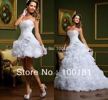 New Fashion Shimmering Luxury Detachable Skirt Ruffled Count Train Organza Sexy Short Wedding Dresses Wedding Gown VW-001(China (Mainland))