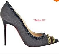 Fall 2013 Malabar Hill horse hair high heels pointed toe spike studs dress shoe red bottom women pumps