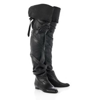 50%off Brand Ladies flat boots tall over the knee thigh high boot sheepskin leather bandage women knight boot