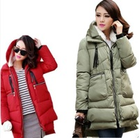 new 2014 women's Winter wadded jacket  medium-long thickening tooling casual loose down   jacket