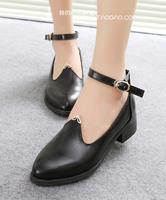 Autumn fashion female autumn vintage women's shoes round toe low-heeled KC287