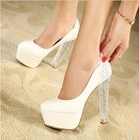 Crystal Thick Heel Women Shoes Sexy Ultra High Heels Platform Pumps Round Toe Sapatos Shoes Woman