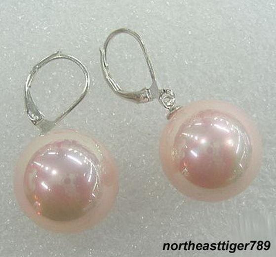 Pink South Sea Shell Pearl 14KWGP Hook Earrings 10MM(China (Mainland))