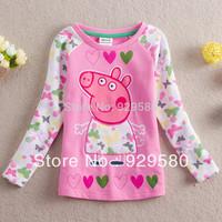 (2-7Y)1lot/5pcs PEPPA PIG 2014 baby girls pink t shirts children cotton t-shirt kids clothing heart butterfly Free shipping