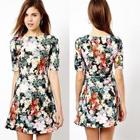 New Fashion Women's elegant floral print dress Vintage Half sleeve O-neck winter dress casual slim brand designer dress