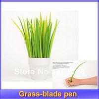 20pcs/lot 2013 Newest Gift idea Grass-blade pen pooleaf ballpoint pen small fresh Grass blade pen+Free shipping
