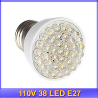 Register free shipping!! 5pcs/lot 110V 38 LED E27 White LED Energy Saving Light Bulb 1.9W