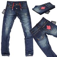 2015 Men's famous brand DSQ jeans D2 waist drawstring bags red maple leaf logo men's low waist straight jeans