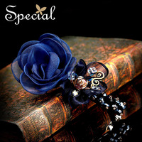 Special Hair Accessories Silk Crystal Fashion Romantic Design Sweet Flowers Hairpin Free Shipping Jewelry FS13A07222