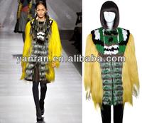 New Arrival YR-573 Yellow Fashion Exhibition Hot Jinsi Goat Fur, Silver Fox Fur, Rex Rabbit Fur and Raccoon Fur Jacket