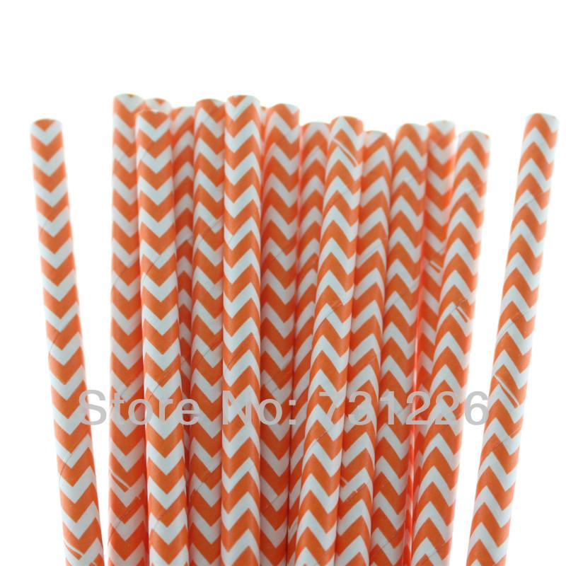 1500pcs/lot Eco-friendly Orange Chevron Party Paper Drinking Straws(25pcs/bag 19.7cm) for Christmas Party Decoration()