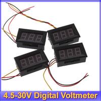 Free shipping! 10pcs/lot 4.5-30V Digital MiNi LED Auto Car Truck Voltmeter Gauge Voltage Volt Panel Meter