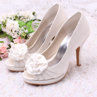 (12 Colors) Sweet Style Lady Pump Heel Platform Shoes Bridal Wedding White Heels With Flower Free Shipping