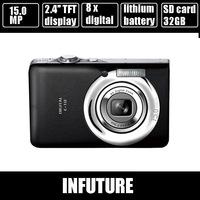 15.0 MP camera digital camera 2.4'' display 8 x digital zoom anti shake rechargeable lithium battery free shipping