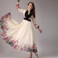 2014 summer fashion women's long chiffon dress sweet bohemia long dress maxi long sleeve chiffon dress floor length a line dress