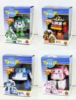 T1355 4pcs/set Robocar Poli 2.2''-4'' Deformation Car Bubble South Korea Thomas Toys chilren gift 4 Models Mixed