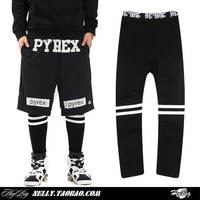 New 2014 pyrex yeezy fashion brand men's stripe skateboard hiphop leggings casual sport pants lover's design