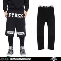 Fashion street pyrex vision elastic brief solid color lovers design hip hop legging pants casual sport leggings