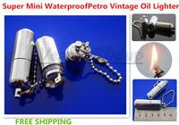 Free Shipping New Super Mini Waterproof Cigarette Petro Lighter Vintage Oil Lighter Metal Flame Lighter Keychain