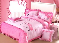 4pcs-6pcs Pink Hello Kitty Bedding King Size Princess Black And White Animal Print Minnie Mouse Bedding/Cotton Bedroom Set
