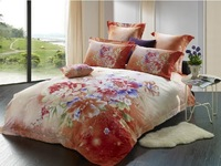 Colorful flowers orange prints 4pcs 100% cotton 3d  bedding sets bed cover queen size duvet cover bed linen comforter set