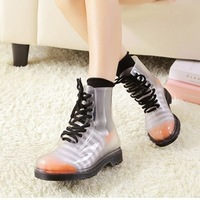 2014 Popular Crystal Clear Colors Rain Shoe For Women Lucency Boots Lady's Outdoor Waterproof Shoe Free Shipping Ma101