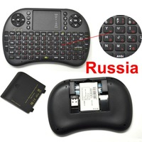 Black Russian Mini Keyboard 2.4GHz Mini PC Wireless QWERTY Keyboard Mouse Touchpad Remote Game Controller Free Shipping