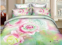 Luxury flowers green prints 4pcs 100% cotton 3d bedding sets duvet cover queen size coverlet quilt cover set bed linen set