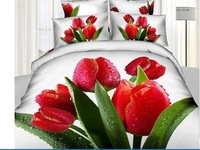 Red tulip white prints 4pcs 100% cotton 3d bedding sets duvet cover queen size coverlet quilt cover set bed linen set