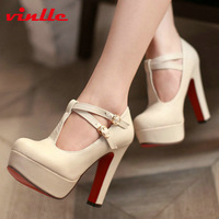 VINLLE 2014 Fashion Sexy casual patent leather mid heel T-Strap high heel shoes women's pumps wedding shoes size 34-43