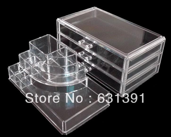 Pacote de Segurança Better_Life alta qualidade Fashional 4 Gavetas Acrílico Maquiagem Icebox organizador de jóias(China (Mainland))